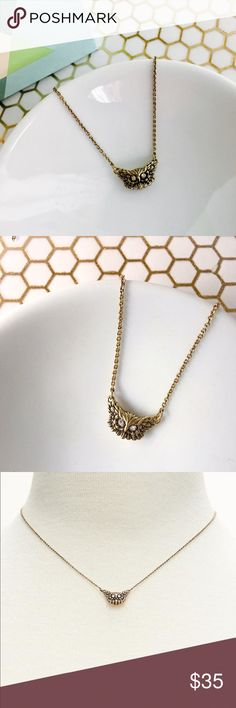 Banana Republic Brass Owl Pendant SUBTLE STYLE This necklace is bar far one of the coolest and most versatile pieces I have ever seen. The owl is fixed at the center of the chain for a perfect lay. Every. Single. Time. The owl is the same on front and back so you can never get it wrong. This is a high quality piece, antique looking brass, with a delicate chain and substantial but minimalist owl pendant. Subtle but oh so stylish. 95% brass, 5% glass.  * Brass plated with non-precious metal…