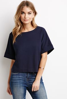 Boxy Cuff-Sleeve Top - $15.90 in navy  - forever 21 - April 10, 2015