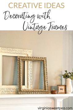 Creative Ideas for Decorating with Vintage Frames - See dozens of creative ideas for using frames for home decor. From an 1857 farmhouse, a 1912 home, a 1961 ranch, plus modern-day homes, you are sure to be inspired with frame ideas to use in your home decor. via @spaula Decor, Flea Market Decorating, Decor Tutorials, Budget Friendly Decor, Affordable Home Decor, Home Decor, Thrift Store Decor, Indoor Decor, Frame