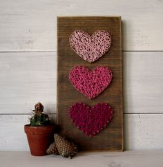Mini Hearts String Art Sign Heart Sign Wooden by LoveArtSoul11
