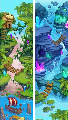 Lil Quest Maps on Behance 2d Game Art, Video Game Art, Cartoon Background, 2d Game Background, Map Games, Bg Design, Casual Art, Mobile Art, Game Concept Art