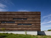 Image 8 of 17 from gallery of Logowines Winery / PMC Arquitectos. Photograph by João Morgado Wood Architecture, Amazing Architecture, Contemporary Architecture, Architecture Details, Amazing Buildings, Modern Buildings, Facade Design, Exterior Design, Modern Brick House