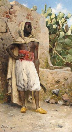 Peder Mønsted (Danish, 1859-1941) The Nubian Guard, oil on canvas, 107 x 60,5 cm.