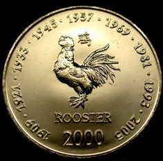 2000 SOMALIA 10 Shilling ROOSTER SIGN of the ZODIAC COIN - A Gorgeous GEM!