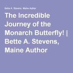 The Incredible Journey of the Monarch Butterfly! | Bette A. Stevens, Maine Author