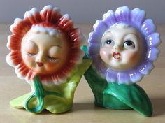 Vintage Anthropomorphic Flower Face Girl Porcelain S&P Shakers - Zinnia or Daisy - Made in Japan