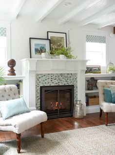 SoPo Cottage Makeover Beach House Fireplace With Built In Bookshelves