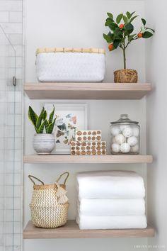 Shelves, Driven By Decor, Simple Bathroom Decor, Diy Bathroom Decor, Small Bathroom Decor, Home Decor, Wood Shelves, Modern Bathroom Decor, Bathroom Decor