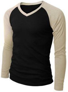Ubasics Mens Simple v Neck Stylish Printed Cashmere Long Sleeve t Shirt