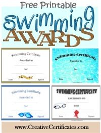 A variety of free printable swimming awards and certificates. Many more free sports awards and award certificates on this site.