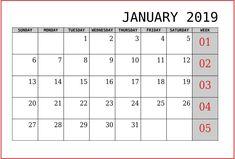 10 Best Blank Calendar January 2019 Images On Pinterest