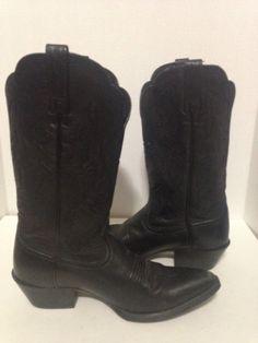b8dc15f37 Ariat Black Deertan Leather Heritage Western Cowboy Boots  15771 Size 7B   Ariat  CowboyWestern
