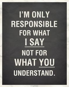 I'm only responsible for what I say