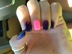 Purple and pink sparkly nails