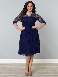 Scalloped Luna Dress $174.99 #Kiyonna, #LucyClothing, #plussize