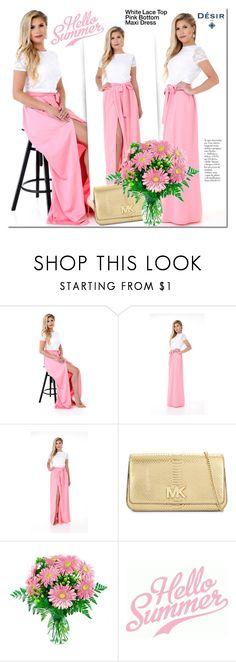 Designer Clothes, Shoes & Bags for Women Pink Lace Tops, Plus Size Dresses, White Lace, Michael Kors, Polyvore, Collection, Design, Women