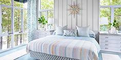 Sarah's Rental Cottage Master Bedroom using Amir, Azure Fabric from www.tonicliving.com  #sarahsrentalcottage #sarahrichardsondesign