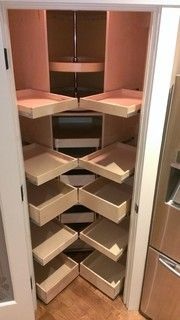 Gorgeous Corner Cabinet Storage Ideas For Your Kitchen Gorgeous Corner Cabinet Storage Ideas For Your Kitchen 21 - Own Kitchen Pantry Corner Pantry Cabinet, Corner Kitchen Pantry, Kitchen Pantry Design, Kitchen Pantry Cabinets, Kitchen Cabinet Organization, Storage Cabinets, Corner Cabinets, Storage Organization, Wall Pantry