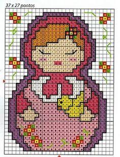 Free Matryoshka Cross Stitch Pattern or Hama Beads Chart