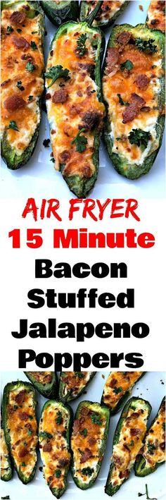 Easy Air Fryer Bacon and Cream Cheese Stuffed Jalapeno Poppers is a quick spicy recipe. These poppers are low-carb and keto diet friendly. This dish has savory and creamy melted cheddar cheese and is also crunchy. Makes the perfect appetizer or snack for Air Fryer Oven Recipes, Air Frier Recipes, Air Fryer Dinner Recipes, Spicy Recipes, Appetizer Recipes, Cooking Recipes, Keto Recipes, Delicious Appetizers, Jalapeno Recipes