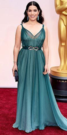 America Ferrera. Beautiful dress color.