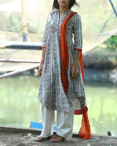Dabu Printed Tunic With Majenta Facing I Shop at :http://www.thesecretlabel.com/shalini-james