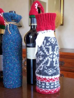 Repurposed sweaters make wine bottles comfy cozy!