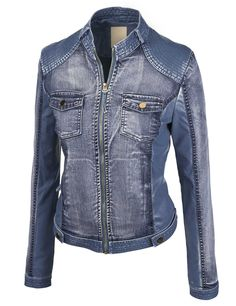 Made By Johnny Women's The Ultimate Denim Faux Leather Jacket Leather Jacket Outfits, Faux Leather Jackets, How To Wear Sweatpants, Jacket Style, Sweater Jacket, Vegan Leather, Blue Denim, Jackets For Women, My Style