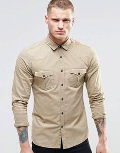 Image 1 of ASOS Skinny Western Shirt In Stone With Long Sleeves