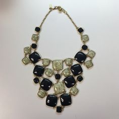 Kate Spade Statement Necklace Gold, black, and marbled stone statement necklace. An awesome piece to dress up an outfit! kate spade Jewelry Necklaces