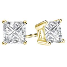 6d06f0d1c 2 Ct Princess Cut Earrings Studs Real 14K Yellow Gold Brilliant Basket  Screwback #Swaraecom #
