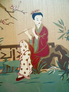Antique Asian Japanese painting Woman with flute