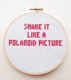 Shake It Like a Polaroid Picture Embroidery Outkast Hey Ya Hand Embroidery Hoop R&B Hip Hop Rap Lyric Cross Stitch Funny Hoop Music Decor