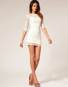 White M Fashion Women Lace Short Dress Spring Autumn Half Sleeve 2 Piece Suit - Dresses