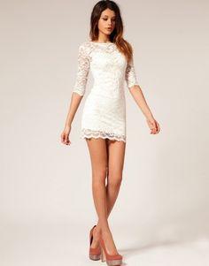White M Fashion Women Lace Short Dress Spring Autumn Half Sleeve 2 Piece Suit - Dresses