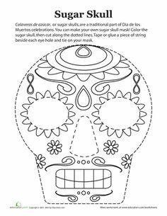 Worksheets: Dia de los Muertos Mask