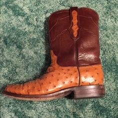 Ostrich Skin / Maroon-Brown Top Boots