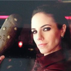 """""""Me and my weapon--I remember we couldn't stop spanking each other with these between takes:). Kris Holden Ried, Anna Silk, Lost Girl, Free Blog, Screen Shot, Girl Photos, Tv Shows, Celebs, Instagram Posts"""