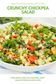 This salad recipe is ready in just 10 minutes and a great option for lunch or dinner! This salad also travels beautifully so you can meal prep it and enjoy for lunch on a busy day! Healthy Habits, Healthy Meals, Healthy Eating, Gluten Free Recipes, Vegan Recipes, Cooking Recipes, Lunch Recipes, Salad Recipes, Crunchy Chickpeas