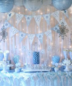 Snow Fairy Winter Wonderland Party Decorations - Banners, Cupcake Toppers and More - Blue Fai . - Snow Fairy Winter Wonderland Party Decorations – Banners, Cupcake Toppers and More – Blue Fair - Winter Birthday Parties, Disney Frozen Party, Frozen Birthday Party, Happy Birthday, Birthday Ideas, Winter Parties, Frozen Kids, December Birthday, Anna Frozen