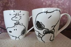 CollectPeanuts.com on Facebook - Share a cup of joe! Andrea and Kathy share their Snoopy and Woodstock coffee mugs.   What's in your Peanuts collection? Post photos of your favorites on the CollectPeanuts.com Facebook wall.