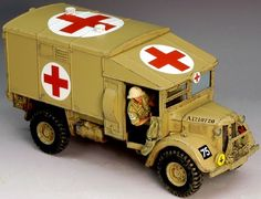 World War II British Army Desert Austin Ambulance - Made by King and Country Military Miniatures and Models. Factory made, hand assembled, painted and boxed in a padded decorative box. Excellent gift for the enthusiast. Army Vehicles, Armored Vehicles, Ambulance, Army Medic, Toy Tanks, Model Cars Kits, King And Country, Military Modelling, Military Diorama