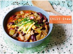 Almost low carb lunch idea: Chili Stew http://budgetpantry.com/almost-low-carb-lunch-idea-chili-stew/