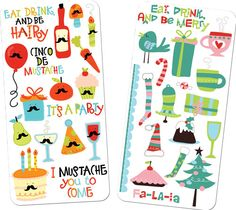 Eat, Drink, and be Hairy by LetteringDelights.  Mustaches on food and presents and birthday items