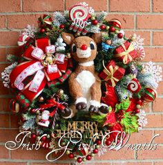 Rudolph Wreath, Rudolph the Red-Nosed Reindeer Wreath, Christmas Wreath, Pre-lit LED Mercury-look lights, Island of Misfit Toys, LAST ONE