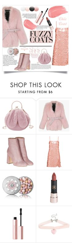 """""""Glamour Fuzzy Coats"""" by dariafrank ❤ liked on Polyvore featuring Anja, Balmain, Laurence Dacade, Miu Miu, Guerlain, Too Faced Cosmetics and Hot Topic"""