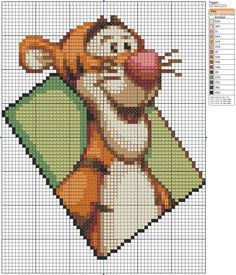Free Cross Stitch Pattern - Tigger by ~Makibird-Stitching on deviantART Disney Cross Stitch Patterns, Cross Stitch For Kids, Cross Stitch Baby, Cross Stitch Animals, Counted Cross Stitch Patterns, Cross Stitch Charts, Cross Stitch Designs, Cross Stitch Embroidery, Winnie The Pooh