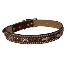 pawsdeluxe chocolate brown leather dog collar smoke swarovski crystals