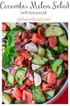 Bursting with fresh flavour, this Watermelon Cucumber Salad with Bocconcini is made in about 10 minutes. It's perfect for all those upcoming deck parties, picnics and barbecues! #watermeloncucumbersalad #watermelonsaladrecipe #cucumbersaladrecipe #summersaladrecipe #saladwithbocconcini #picnicrecipe #summerside #sidesalad