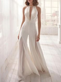 Women's Fashion See-through Split Jumpsuit - Fashion Designers White Jumpsuit, Casual Jumpsuit, Jumpsuit Dress, White Dress, Prom Dresses, Wedding Dresses, Puffy Dresses, Mini Dresses, Dress Wedding